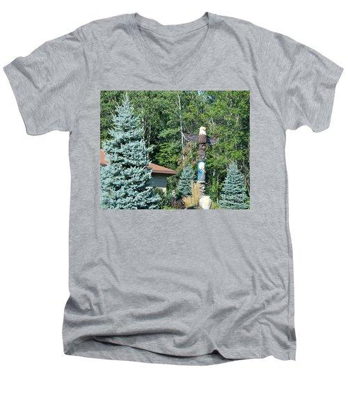 Yard Totem Men's V-Neck T-Shirt by Pamela Walrath