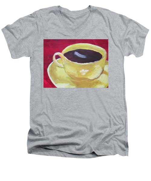 Yellow Cup On Red Men's V-Neck T-Shirt
