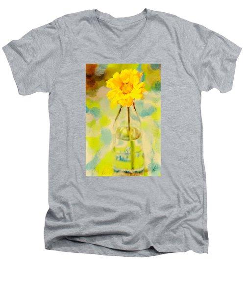 Yellow Flower Men's V-Neck T-Shirt by Toni Hopper