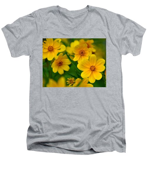 Men's V-Neck T-Shirt featuring the photograph Yellow Flowers by Marty Koch