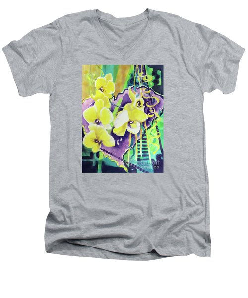 Yellow Orchids Of The Heart Men's V-Neck T-Shirt by Kathy Braud