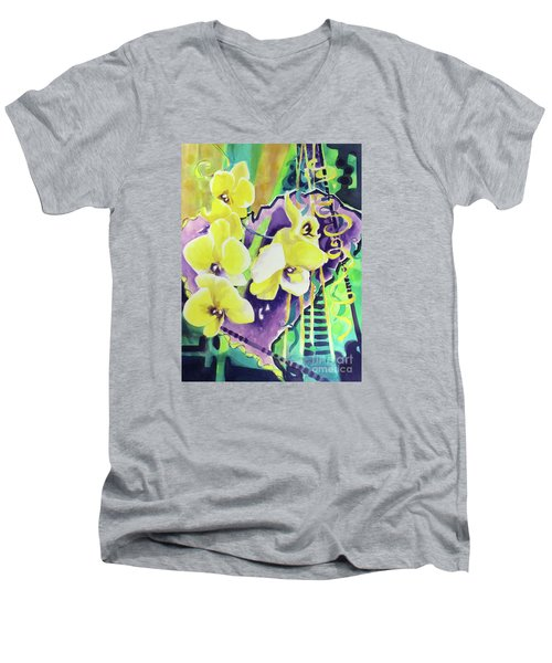 Yellow Orchids Of The Heart Men's V-Neck T-Shirt