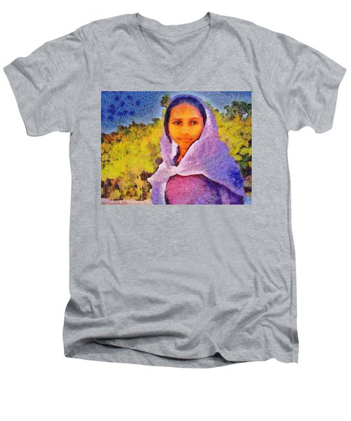 Young Moroccan Girl Men's V-Neck T-Shirt