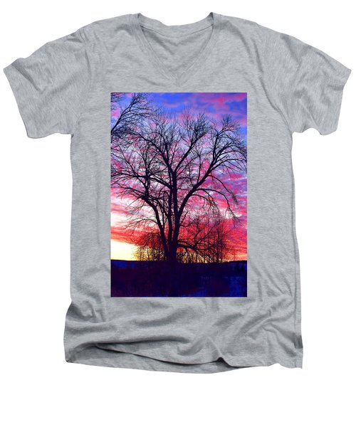Men's V-Neck T-Shirt featuring the photograph -11 Sunrise by Dacia Doroff