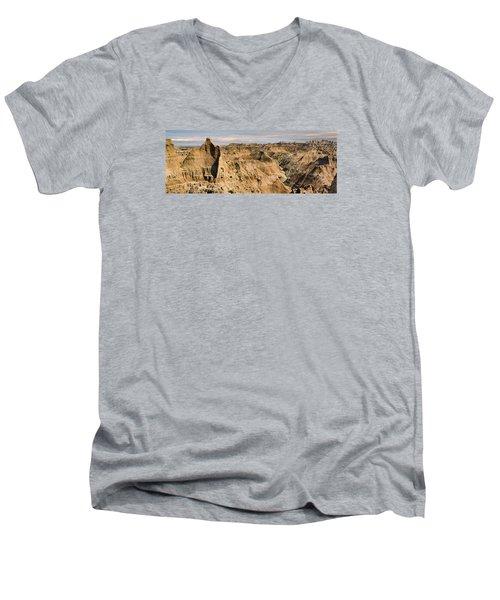 Men's V-Neck T-Shirt featuring the photograph  Badlands South Dakota by John Hix