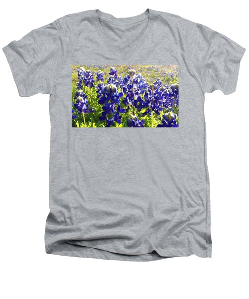 Men's V-Neck T-Shirt featuring the painting  Bluebonnet Morning by Karen Kennedy Chatham