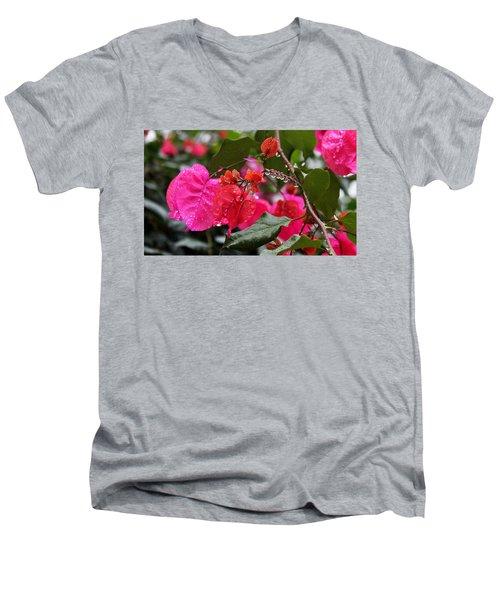 Bougainvillea In The Rain Men's V-Neck T-Shirt
