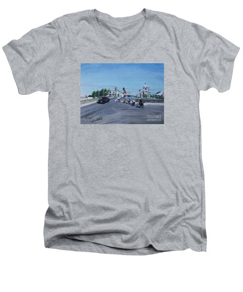 Family Cycling Tour Men's V-Neck T-Shirt by Francine Heykoop