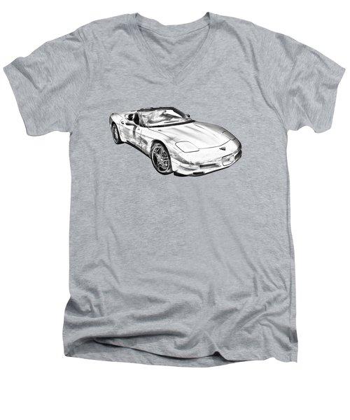 C5 Corvette Convertible Muscle Car Illustration Men's V-Neck T-Shirt