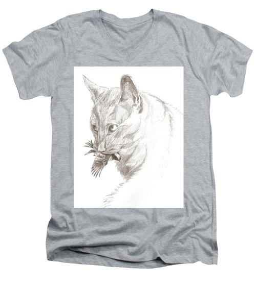 Cat And Chickadee Men's V-Neck T-Shirt