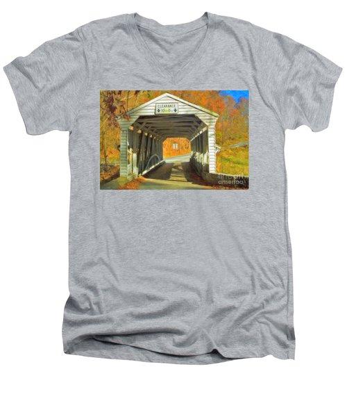 Men's V-Neck T-Shirt featuring the photograph  Covered Bridge Watercolor  by David Zanzinger