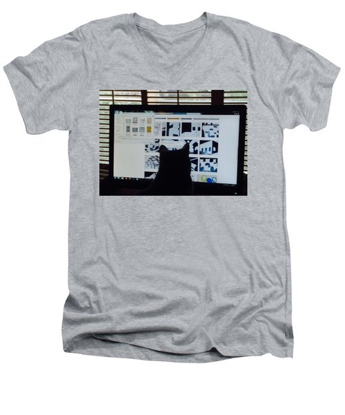 Critic Cat Men's V-Neck T-Shirt by Erika Chamberlin