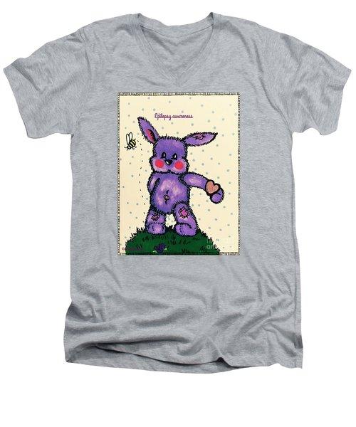 Epilepsy Awareness Bunny Men's V-Neck T-Shirt