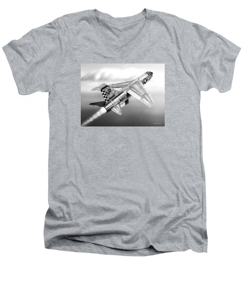F-8e Crusader Drawing Men's V-Neck T-Shirt by Douglas Castleman