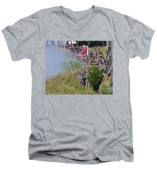 Gettysburg Confederate Infantry 8769c Men's V-Neck T-Shirt