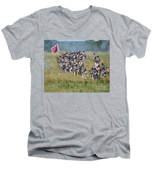 Gettysburg Confederate Infantry 9015c Men's V-Neck T-Shirt