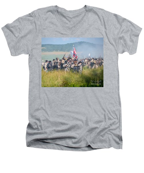 Gettysburg Confederate Infantry 9214c Men's V-Neck T-Shirt