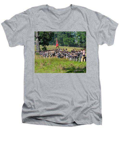 Gettysburg Confederate Infantry 9270c Men's V-Neck T-Shirt
