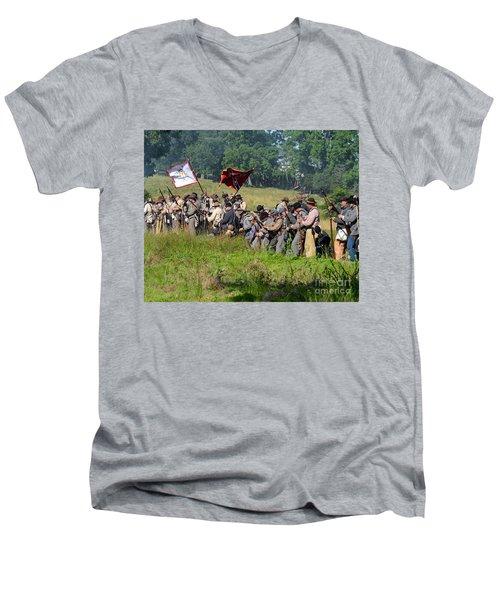 Gettysburg Confederate Infantry 9281c Men's V-Neck T-Shirt