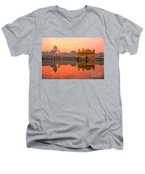 Golden Temple Men's V-Neck T-Shirt by Luciano Mortula