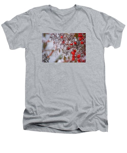 Men's V-Neck T-Shirt featuring the photograph  Holiday Ice by Heidi Poulin