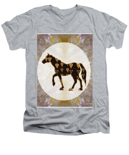 Horse Prancing Abstract Graphic Filled Cartoon Humor Faces Download Option For Personal Commercial  Men's V-Neck T-Shirt by Navin Joshi