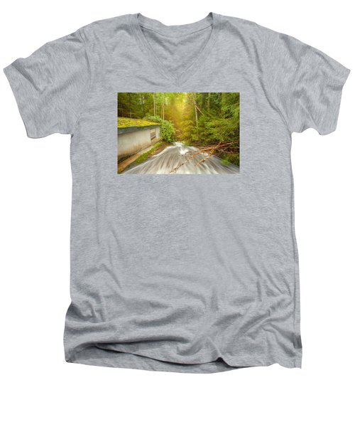 Men's V-Neck T-Shirt featuring the photograph  In The Woods by Rose-Maries Pictures