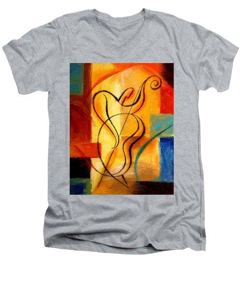 Jazz Fusion Men's V-Neck T-Shirt by Leon Zernitsky