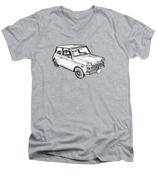Mini Cooper Illustration Men's V-Neck T-Shirt