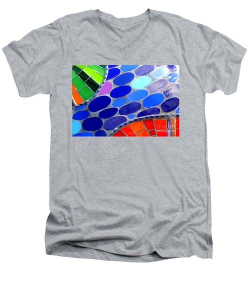 Mosaic Abstract Of The Blue Green Red Orange Stones Men's V-Neck T-Shirt by Michael Hoard