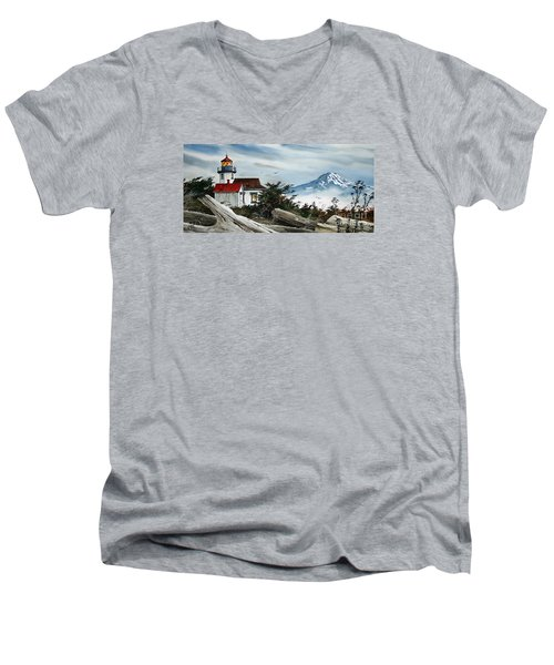 Point Robinson Lighthouse And Mt. Rainier Men's V-Neck T-Shirt