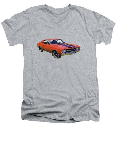 Red 1971 Chevrolet Chevelle Ss Men's V-Neck T-Shirt