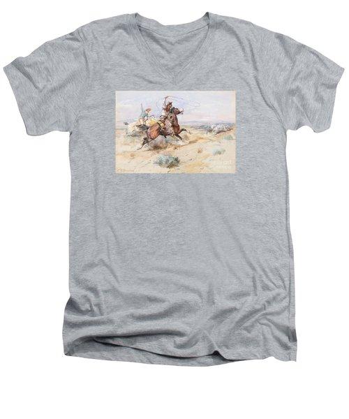 Roping A White Wolf  Men's V-Neck T-Shirt