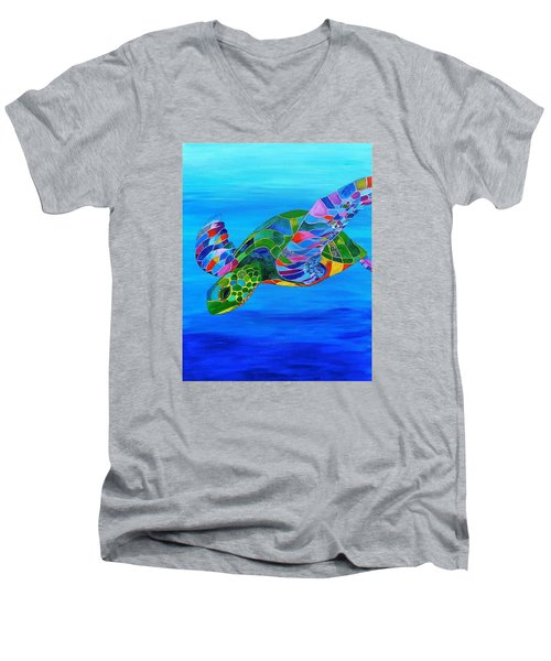 Abstract Mehndi Sea Turtle  Men's V-Neck T-Shirt