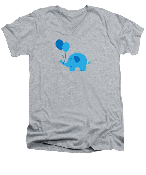 Sweet Funny Baby Elephant With Balloons Men's V-Neck T-Shirt