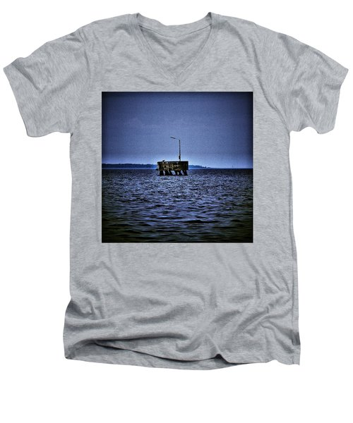 Men's V-Neck T-Shirt featuring the photograph  The Dock Of Loneliness by Jouko Lehto