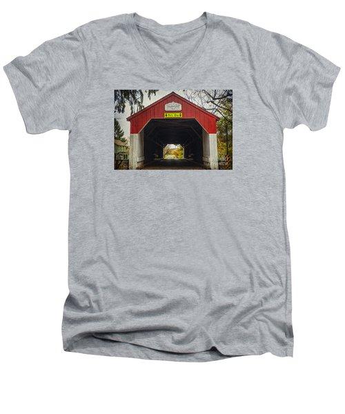 Uhlerstown Covered Bridge Iv Men's V-Neck T-Shirt