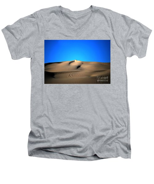 Yuma Dunes Number One Bright Blue And Tan Men's V-Neck T-Shirt by Heather Kirk