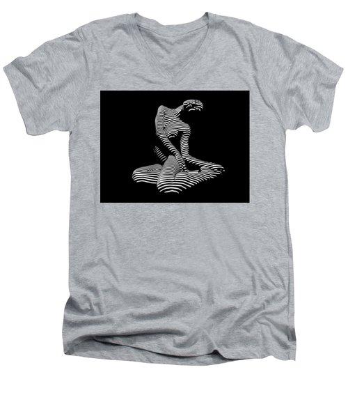 0111-dja Languid Seated Zebra Woman Black White Striped Abstract Photograph Men's V-Neck T-Shirt