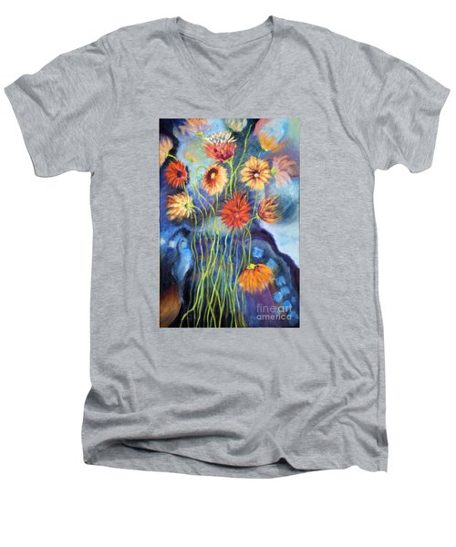 Men's V-Neck T-Shirt featuring the painting 01314 African Daisies by AnneKarin Glass