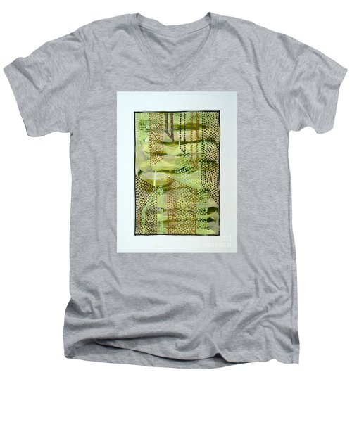 Men's V-Neck T-Shirt featuring the painting 01328 Slide by AnneKarin Glass