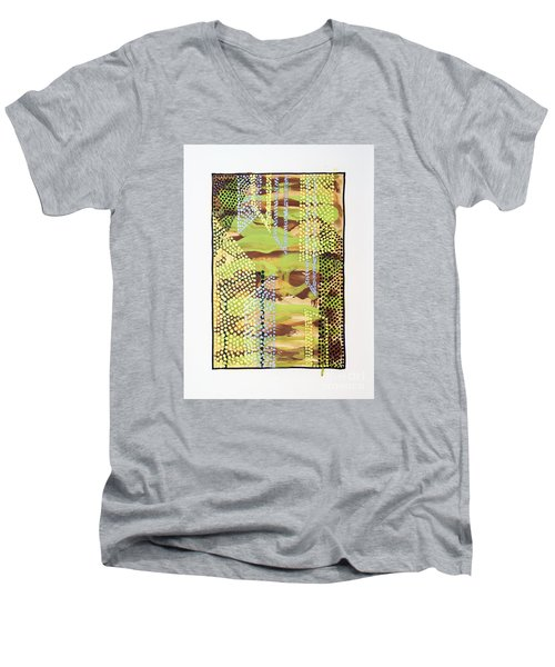 Men's V-Neck T-Shirt featuring the painting 01329 Slip by AnneKarin Glass