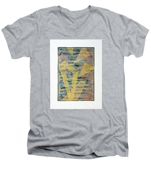 Men's V-Neck T-Shirt featuring the painting 01333 Left by AnneKarin Glass