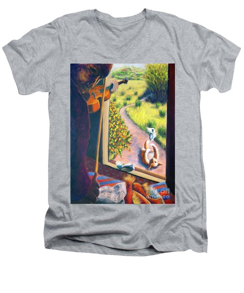 Men's V-Neck T-Shirt featuring the painting 01349 The Cat And The Fiddle by AnneKarin Glass