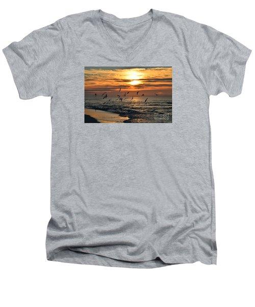 0221 Gang Of Gulls At Sunrise On Navarre Beach Men's V-Neck T-Shirt