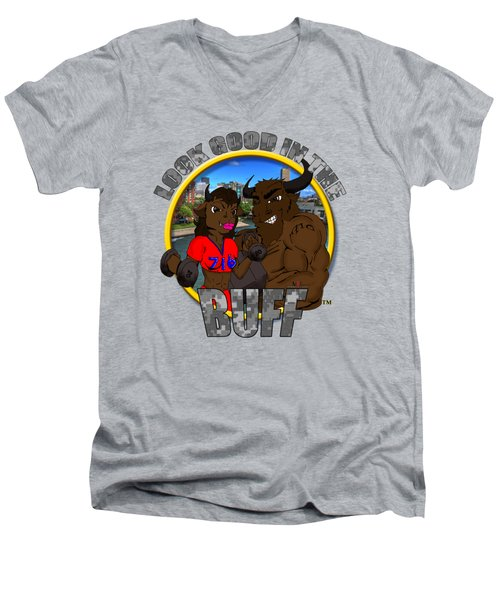 03 Look Good In The Buff Men's V-Neck T-Shirt by Michael Frank Jr