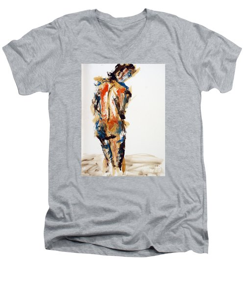 Men's V-Neck T-Shirt featuring the painting 04855 No Regrets by AnneKarin Glass