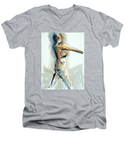 Men's V-Neck T-Shirt featuring the painting 04951 Onward by AnneKarin Glass