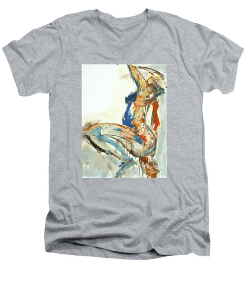 Men's V-Neck T-Shirt featuring the painting 04958 Suddenly by AnneKarin Glass