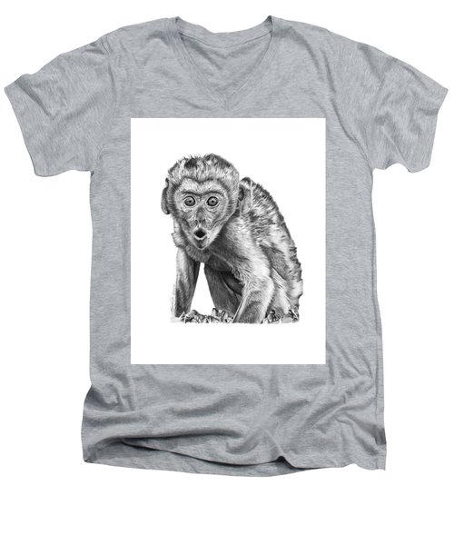 Men's V-Neck T-Shirt featuring the drawing 057 Madhula The Monkey by Abbey Noelle